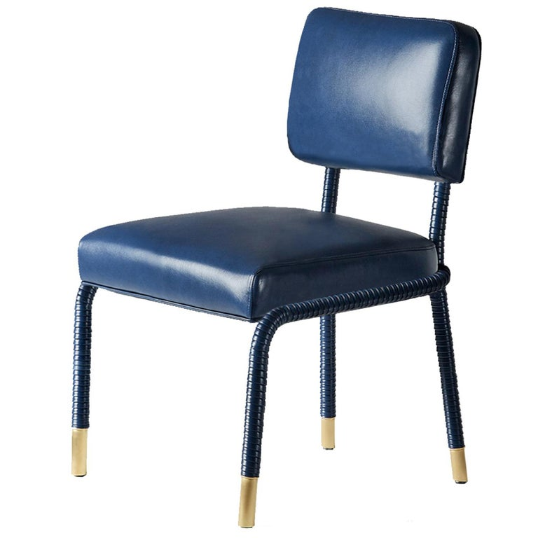 And Objects Easton Side Chair, Fully Wrapped Upholstered Leather in Navy For Sale