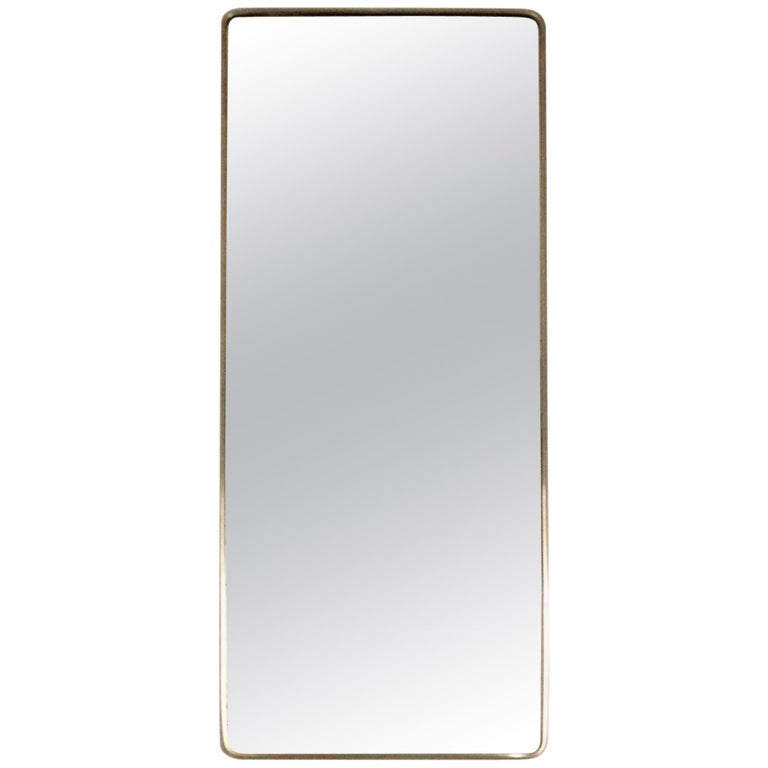 Italian Midcentury Vintage Wall Mirror with Original Brass Frame from the 1950s
