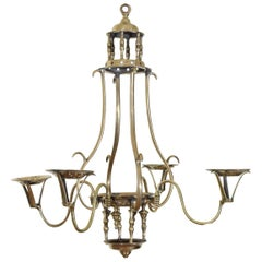 Italian Late Neoclassical Period Bronze 4-Light Chandelier, circa 1840