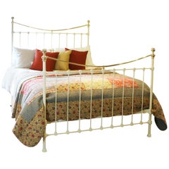 Brass and Iron Antique Bed in Cream, MK169