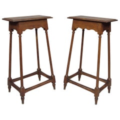 19th Century Pair of Oak Tables/Stands
