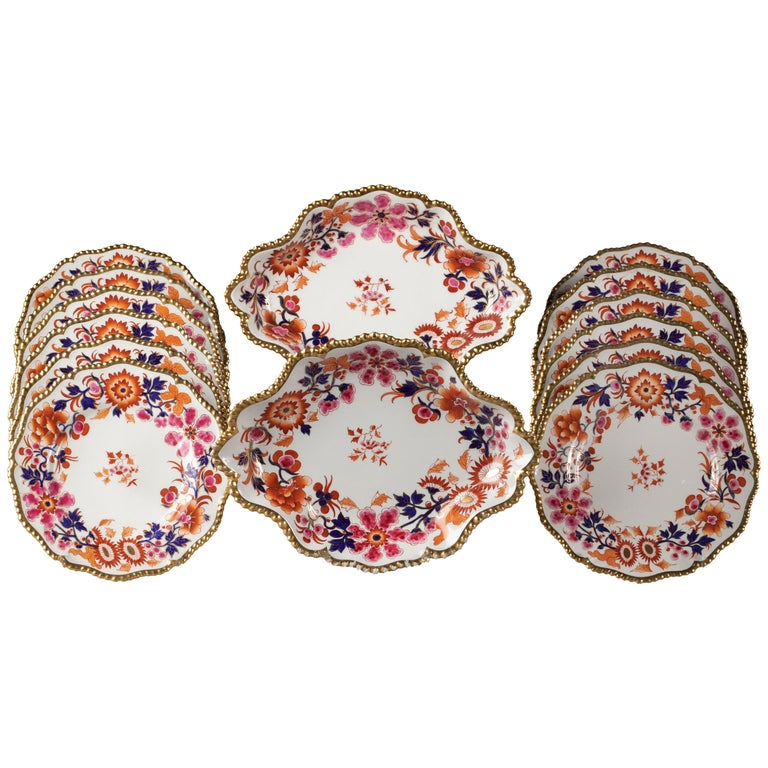 English Porcelain Part Dessert Service, Flight Barr and Barr, circa 1820 For Sale