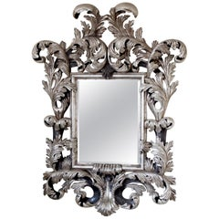 Large Florentine Mirror, Water Gilded in Solid Silver Made by La Maison London
