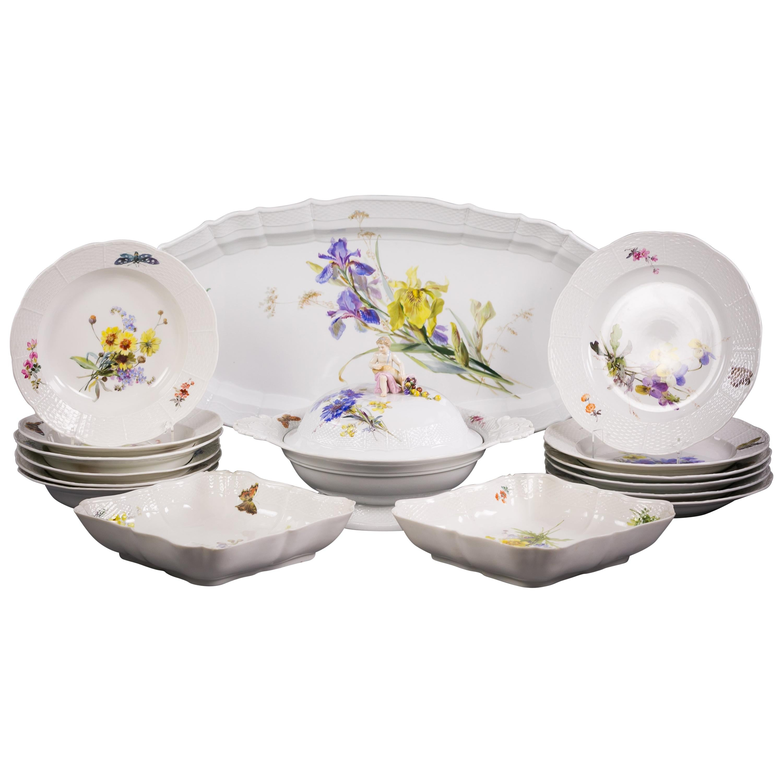 German Porcelain Partial Dinner Service, Meissen, 19th Century