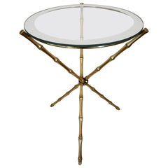 French Maison Baguès Style Faux Bamboo Round Brass Tripod Side Table