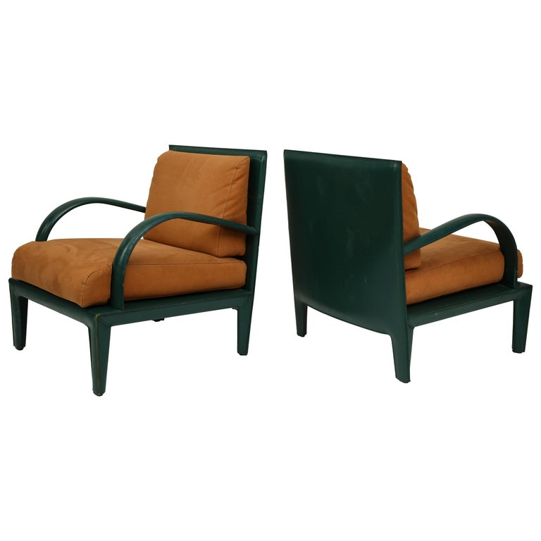 Orange Green Leather Lounge Chairs 1980s France For Sale