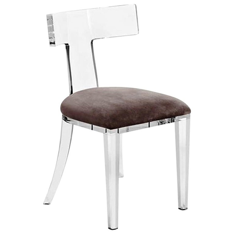 """Set of Four Contemporary Lucite """"T"""" Back Dining Chairs in Taupe Grey Velvet For Sale"""