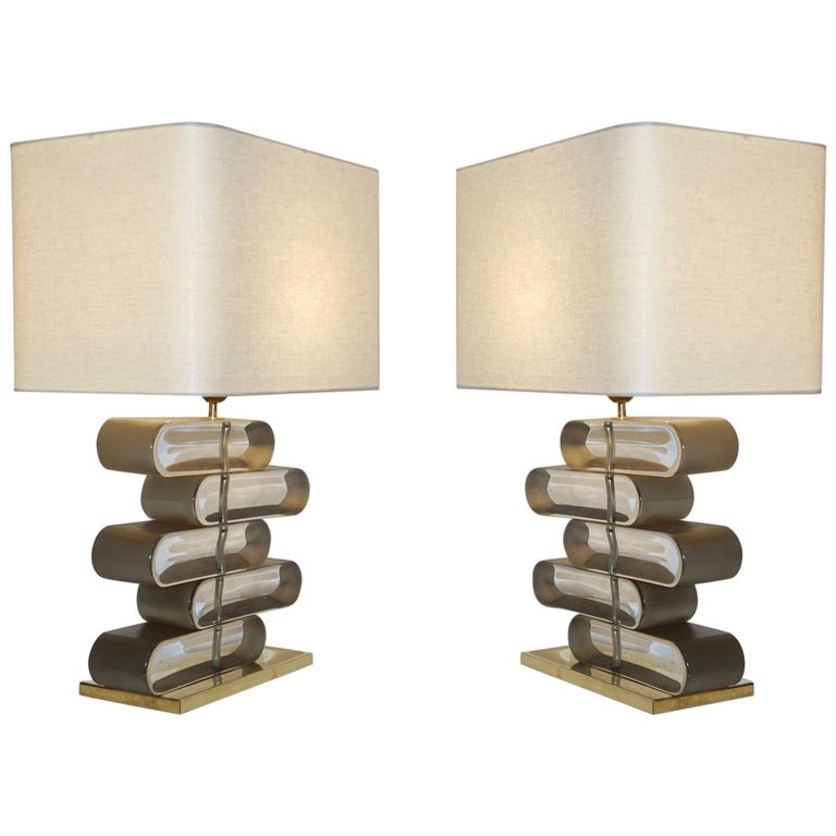 Italian Modern Pair of Brass and Bronze Murano Glass Architectural Table Lamps For Sale