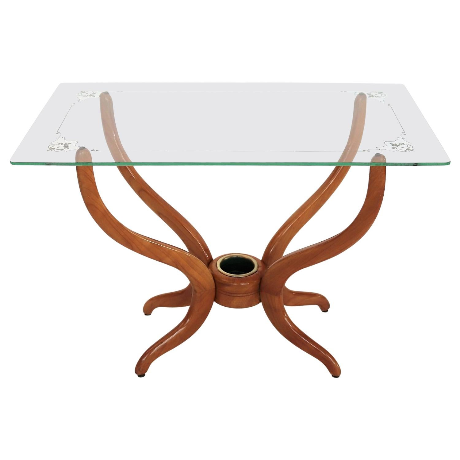 Italian Midcentury Coffee Table in Walnut and Glass, 1950s