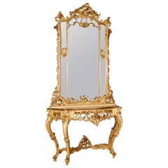 20th Century Lacquered and Giltwood Italian Console with Mirror, 1960