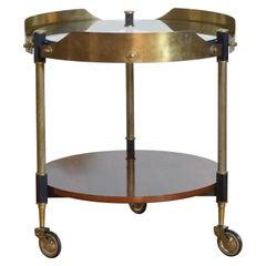 Italian Round Brass, Glass, and Macassar 2-Tier Bar Cart, Mid-20th Century