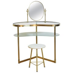 Italian Mid-Century Modern Brass and Glass Vanity Table with Stool, with Label