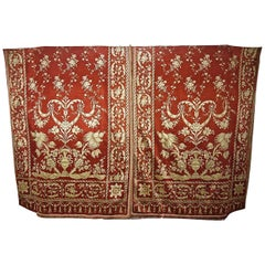 Two Pairs of Silk Curtains Dark Coral Old Gold, French, 19th Century