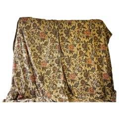 Two Indienne Flower Linen Curtains 19th Century French Antique