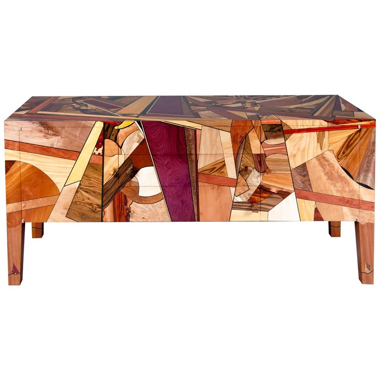 Colorful, Art Inspired,  Mosaic Decorated, Meticulously  Crafted, Credenza For Sale