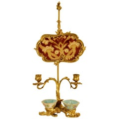 19th Century French Gilt Bronze Desk Candlestick with Cinese Ceramic Inkwell