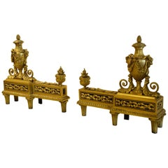 19th Century Gilt Bronze France Louis XVI Style Chenet
