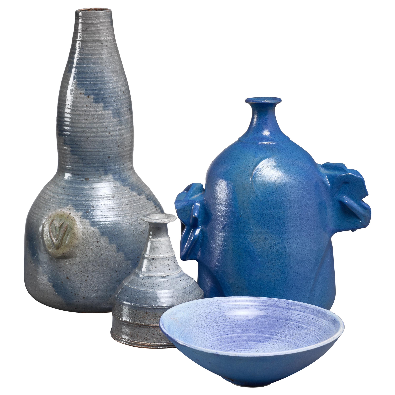 Franco Agnese Set of Four Blue and Grey Ceramic Pieces, France, 1960s