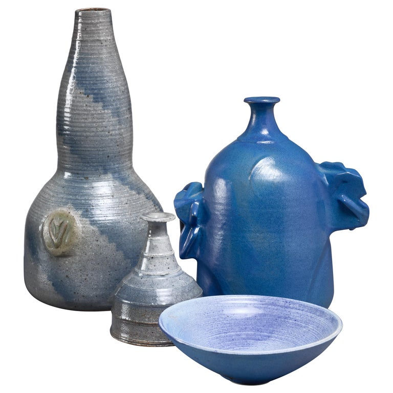 Franco Agnese Set of Four Blue and Grey Ceramic Pieces, France, 1960s For Sale