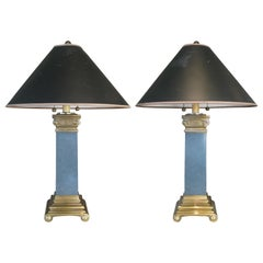 Pair of Brass and Lacquer Column Lamps by Chapman