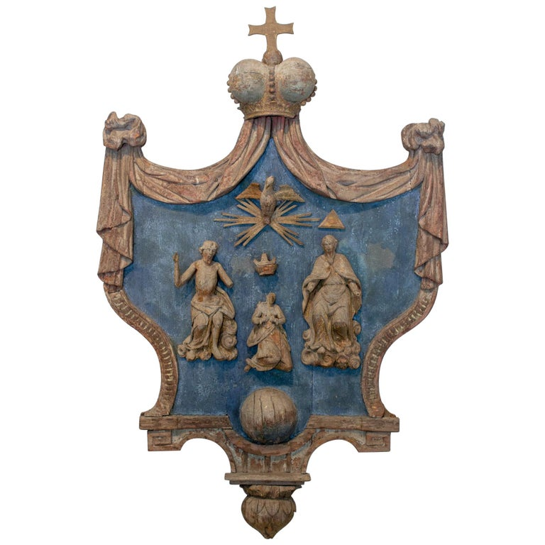 Hand Carved 17th Century French Religious Plaque of the Holy Trinity For Sale