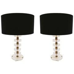 Mid-Century Modern Murano Glass Pair of Italian Lamps