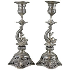 Antique German Hanau Silver Pair of Candlesticks by Georg Roth & Co 19th Century
