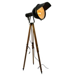 Wooden Tripod Black Enamel Vintage Industrial Spot Light Floor Lamps (2x)