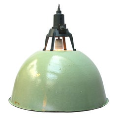 Light Green Enamel Vintage Industrial Pendant Lights (4x)