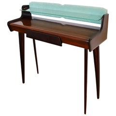 Italian Midcentury Console Design Table in Mahogany and Maple, 1950s