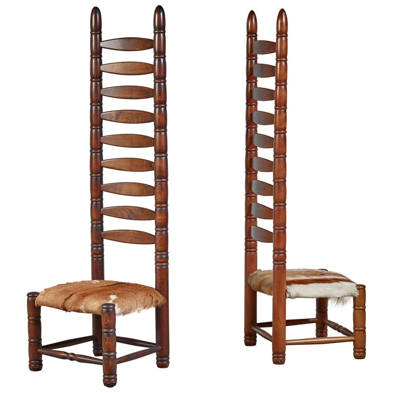 Pair of High Back Ladder Chairs with Goatskin Seating, 1960s For Sale