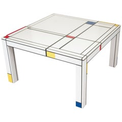 A Mondrian Inspired Abet Laminati Handcrafted Parsons Style White Coffee Table