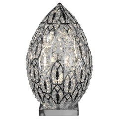 Egg Medium 1 Table Lamp, Chrome Finish, Arabesque Style, Italy