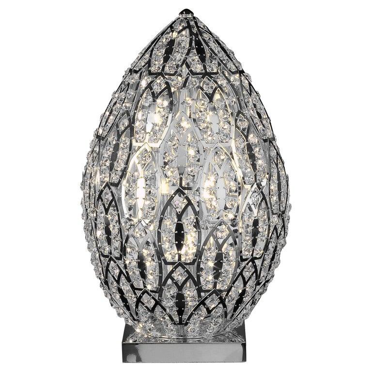 Egg Medium 1 Table Lamp, Chrome Finish, Arabesque Style, Italy For Sale