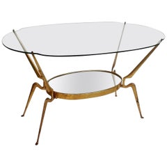 Brass/Glass Coffee Table by Cesare Lacca, Italy Mid-Century Modern, 1950s