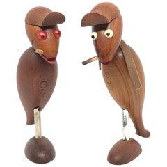 Pair of Vintage Wood Crow Bird Teak Wood Corkscrew Bottle Opener Danish Design