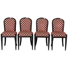 Set of 4 Black Lacquered Side Chairs by Sally Sirkin Lewis for J. Robert Scott