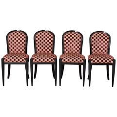 Vierer Set Schwarz Lackierte Beistellstühle von Sally Sirkin Lewis für J. Robert Scott