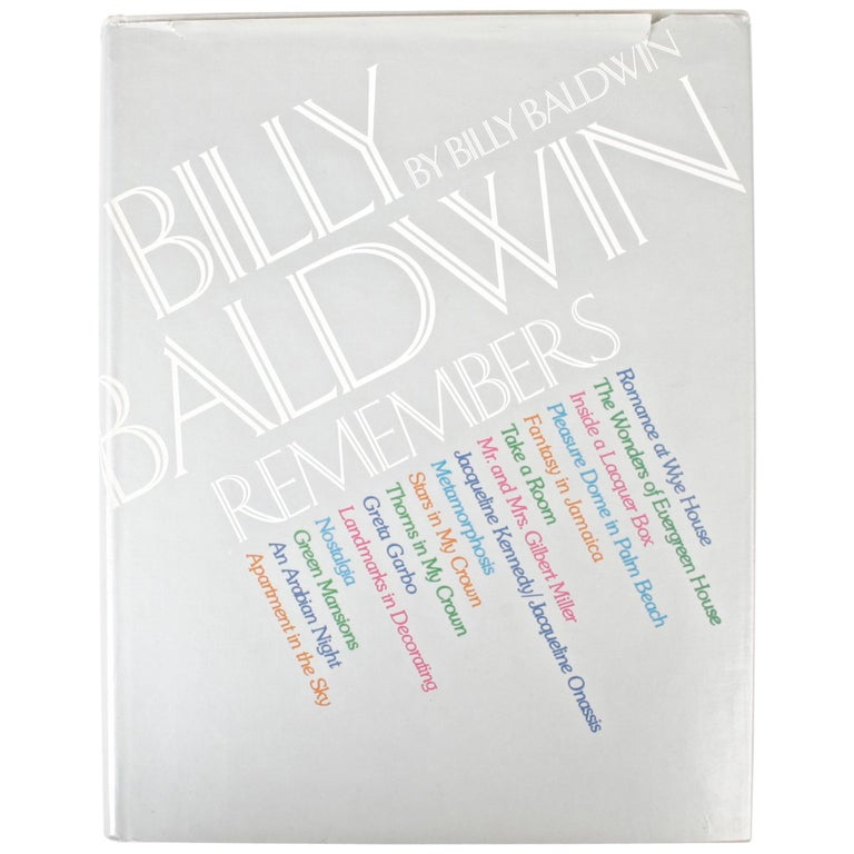 Billy Baldwin Remembers, by Billy Baldwin 1st Edition For Sale