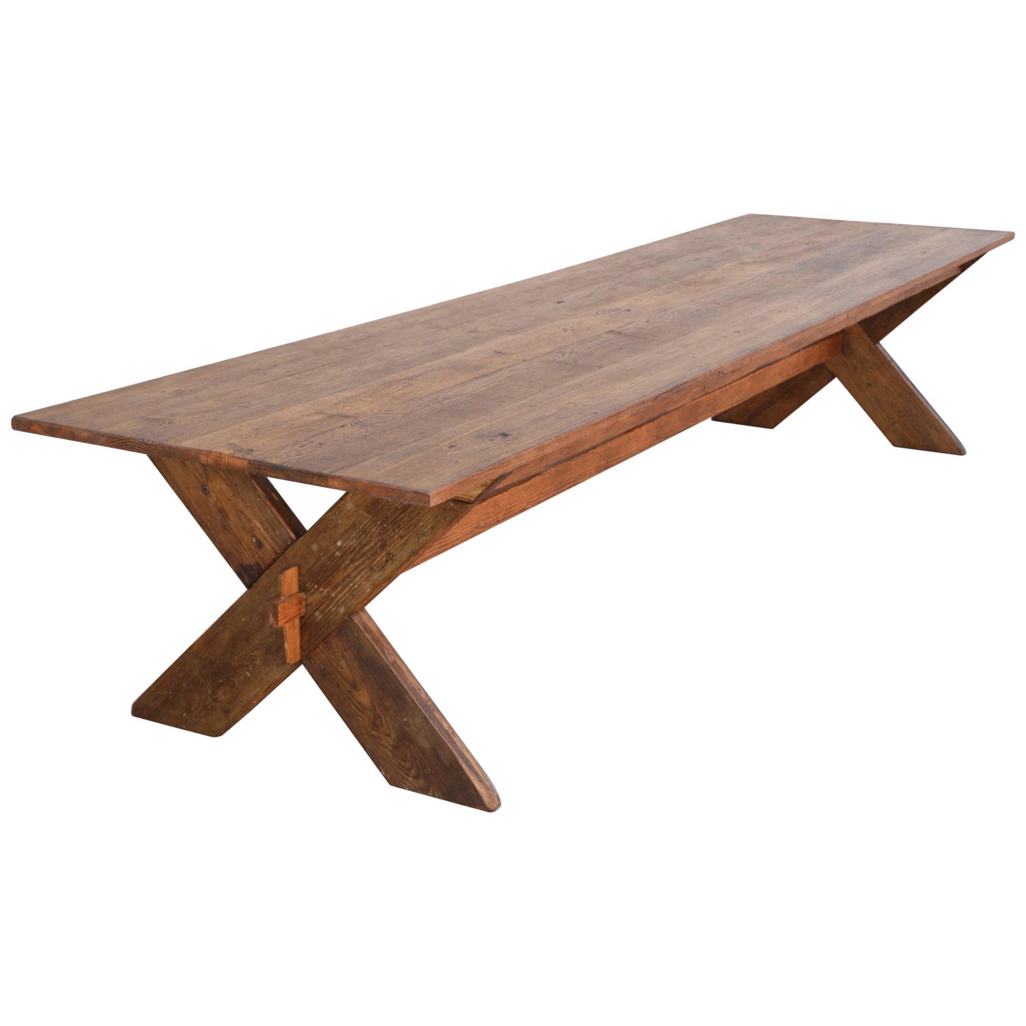 Custom X-Trestle Table in Reclaimed Heart Pine