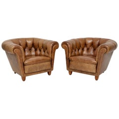 Pair of Antique Swedish Leather Chesterfield Armchairs