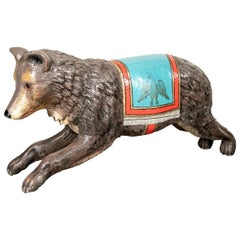 Antique Carved Wood Carousel Bear
