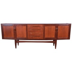 Victor Wilkins for G-Plan Danish Modern Teak Long Credenza, Newly Refinished
