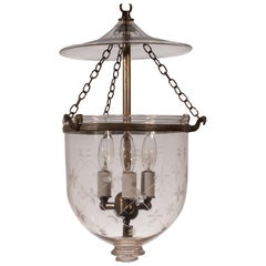 19th Century Petite Bell Jar Lantern with Etching