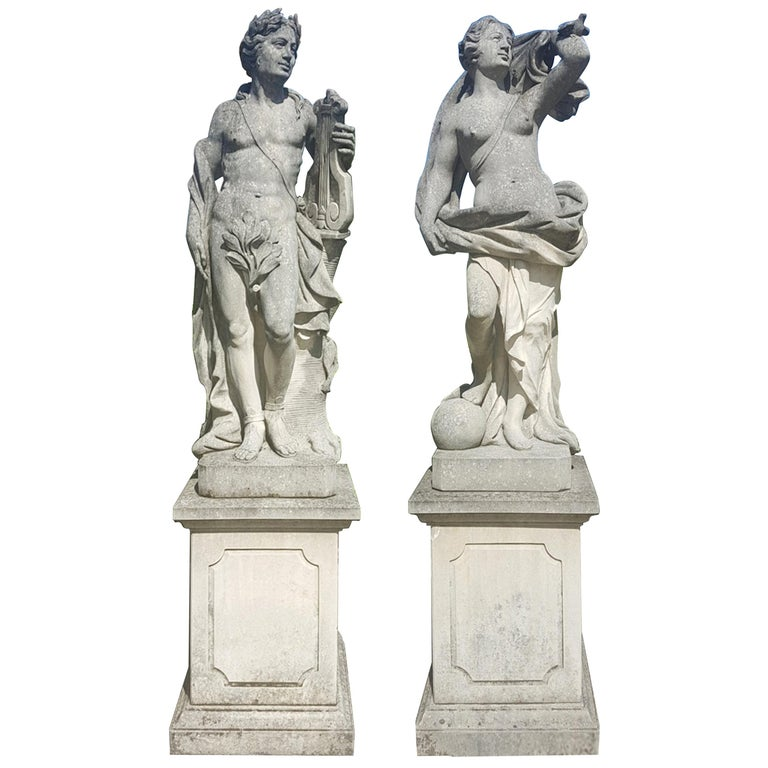 Two Italian Stone Garden Sculptures of Apollo and Roman Goddess For Sale