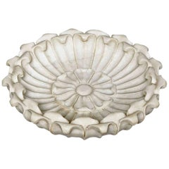 Large Hand Carved Marble Bowl, Mid-20th Century