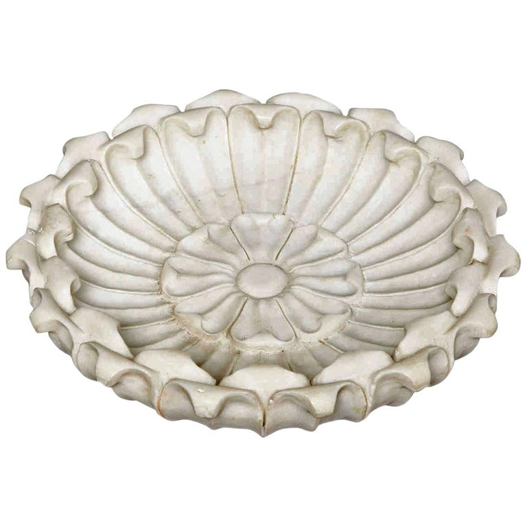 Large Hand Carved Marble Bowl, Mid-20th Century For Sale