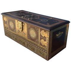 Exceptionally Elaborate Brass Appointed Moroccan Trunk