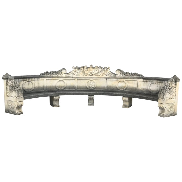 Italian Semi Circular Finely Carved Large Lime Stone Bench Garden Furniture For Sale