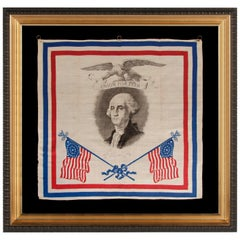 Patriotic Silk Kerchief Of the Civil War Period with an Image of Washington